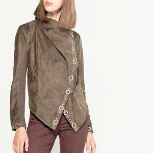 NWT DRIFTWOOD Aztec Faux Suede Asymmetric Jacket